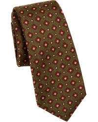 Kiton Silk Square-print Tie - Green