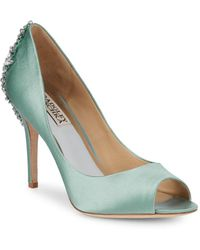 04a2cc8296b Lyst - Badgley Mischka Nilla Peep Toe Jewled Heel Dress Pumps ...