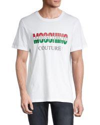 Moschino ! Logo Graphic Cotton T-shirt - White