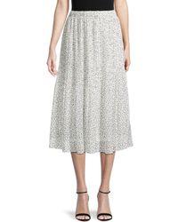 Wdny Printed Midi Skirt - White