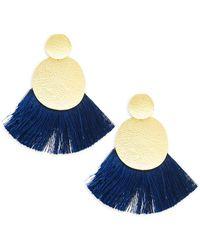 Panacea - Textured Circle Tassel Earrings - Lyst