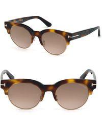 Tom Ford Henri 52mm Round Cat-eye Sunglasses - Brown