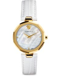 Versace 14k Gold, Stainless Steel & Leather-strap Watch - Metallic