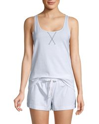 Calvin Klein 2-piece Checkered Jersey Pajama Set - Pink