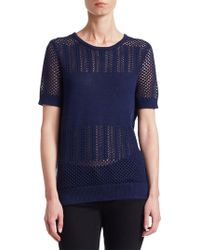 Saks Fifth Avenue - Collection Mixed-stitch Short-sleeve Pullover - Lyst