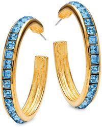 Kenneth Jay Lane Goldplated & Aqua Hoop Earrings - Multicolour