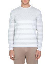 Eleventy Stripe Slim Fit Cotton Sweater - White