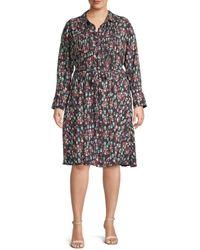 Nanette Lepore Plus Belted Floral Shirtdress - Black