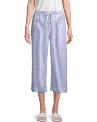 Beach Lunch Lounge Striped Linen & Cotton Blend Pants - Blue