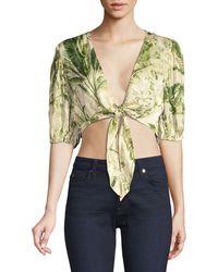 Hemant & Nandita Tie-front Crop Top - Green