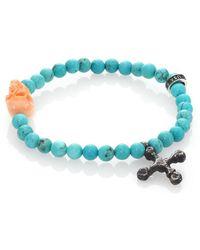 King Baby Studio - Turquoise Bead & Conch Shell Skull Bracelet - Lyst