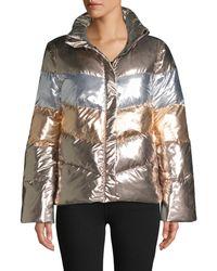 Betsey Johnson Metallic Colorblock Puffer Jacket