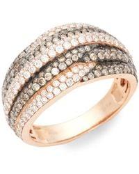 Le Vian Chocolatier 14k Strawberry Gold, Chocolate Diamond & Vanilla Diamond Band Ring/size 7 - Brown