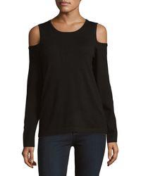 Donna Karan Long Sleeve Cold Shoulder Top - Black