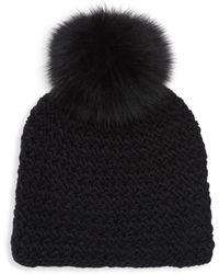 9ac39ddb8 Fox Fur Pom-pom Hat - Black
