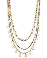 Panacea Goldtone 3-row Necklace - Multicolour