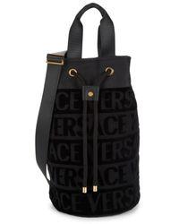 Versace Logo-print Cotton Beach Bag - Black