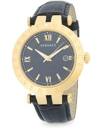 Versace - Round Stainless Steel Leather-strap Watch - Lyst