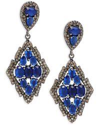 Bavna Women's Black Rhodium-plated Sterling Silver, Kyanite & Diamond Drop Earrings