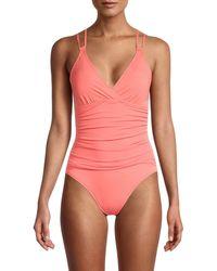 La Blanca Island Goddess Underwire Cross-back One-piece Swimsuit - Multicolour