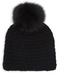 Surell Fox Fur Pom-pom Hat - Black