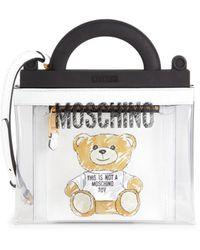 Moschino Women's Graphic Bear Pvc Shopper Bag - White