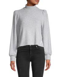 Calvin Klein Puff-sleeve Top - Gray