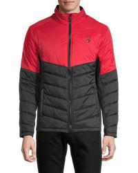 Spyder Logo Colorblock Quilted Jacket - Red