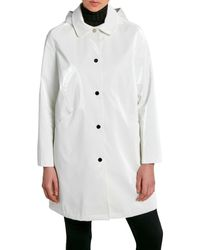 Jane Post Women's Hologram Classic Three-quarter Raincoat - White - Size Xs