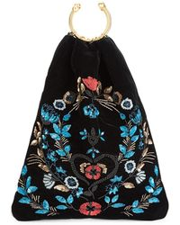 RED Valentino Sequin Top Handle Velvet Sack Bag - Black