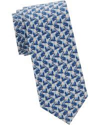Ferragamo Elephant-print Slim Silk Tie - Red