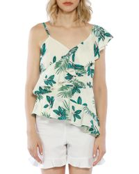 Walter Baker - Ruffle Palm Printed One-shoulder Top - Lyst
