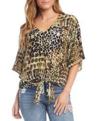 Karen Kane Animal-print Tie Top - Multicolour