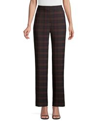 Elie Tahari Women's Leena Straight Leg Plaid Pants - Brown Plaid - Size 0