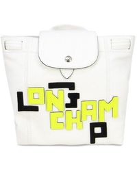 Longchamp Women's Logo Patch Leather Backpack - White