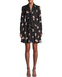 Kate Spade Glitzy Ritzy Dusk Buds Print Mini Dress - Black