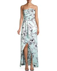 Parker Whitney Satin Floral Gown - Blue