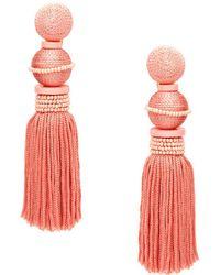 Oscar de la Renta - Beaded Ball Tassel Earrings - Lyst
