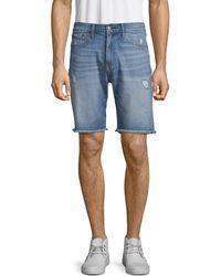 Calvin Klein Straight-fit Ripped Denim Shorts - Blue