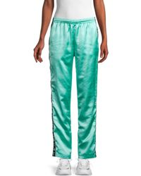 Kappa Women's Satin Logo-tape Track Pants - Mint Black - Size L