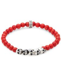 King Baby Studio Coral Bead Skull Bracelet - Red