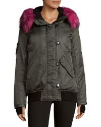 S13/nyc - Trimmed Hooded Bomber Jacket - Lyst