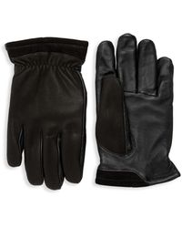 UGG Leather Faux Fur-lined Tech Gloves - Black