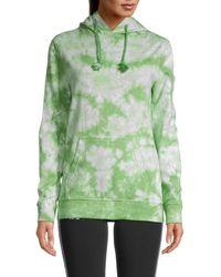 Kappa Women's Camaria Tie-dye Cotton Hoodie - Black White - Size M - Green