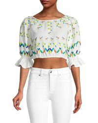 All Things Mochi Embroidered Linen & Cotton Crop Top - White