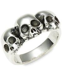 King Baby Studio Men's Triple Hamlet Sterling Silver Skull Ring - Metallic