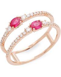 Saks Fifth Avenue 14k Rose Gold, Ruby & Diamond Ring - Multicolor