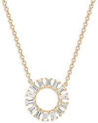 Saks Fifth Avenue 14k Yellow Gold Baguette Diamond Open-circle Pendant Necklace - Metallic