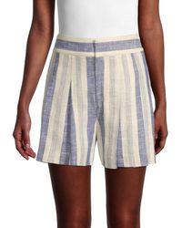 Alice + Olivia Striped Linen-blend Shorts - Blue