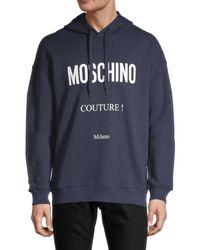 Moschino ! Cotton Logo Hoodie - Blue
